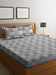 Boutique Bedding Queen Size 100 Cotton 220TC Bedsheet with 2 Pillow Covers (Grey and Black, 235x225 cm)