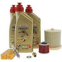 Kit de mantenimiento para el aceite del motor. 10W-40, filtro de aceite, cárter, filtro de aire y bujía, para Yamaha XV 535Virago