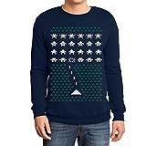 Space Weihnachtsmotiv Invaders Geek Nerd Geschenk Sweatshirt X-Large Marineblau