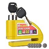 HMF 3510-17 Candado para moto, candado para disco de freno, función de alarma, 110 dB, Outdoor, 9 x 7 x 3,5 cm, amarillo