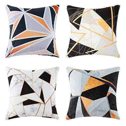 4 Stück Outdoor Sofa (Top Finel Quadratische Dekorative Überwurf Kissenbezug 50,8 x 50,8 cm Weiche Microfaser Outdoor Kissen Hüllen für Couch Sofa Bett 50x50 cm 4 Stück Dreieck-Muster)