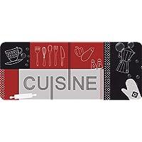 ID MAT Rouge Noir Decor de Cuisine, Fibres Synthétiques, Noir Rouge Gris, 50x120x0,4 cm