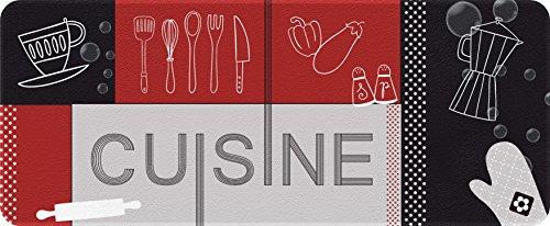 ID Mat Decor Cuisine Rouge Noir, Fibres Synthétiques Gris, 50 x 120