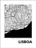 Posterlounge Alu Dibond 100 x 130 cm: Lissabon Stadtplan HF 44spaces von 44spaces