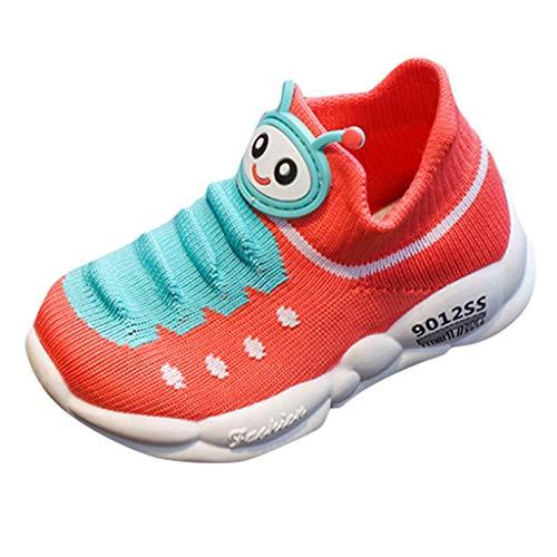 Deloito Kleinkind Sportschuhe Mädchen Babyschuhe Cartoon-Raupe Turnschuhe Jungen Freizeit Stricken Sneaker Kinder Atmungsaktiv Laufen Socken Schuhe (Wassermelonenrot,27 EU)