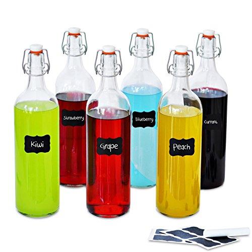 Glasflaschen mit Bügelverschluss | 1 Liter | 6 Teilig und Gummiring | Flaschen Perfekt um Öle, Schnäppse zu veredeln, Wasser, Säften und Weinen | 8 Wiederverwendbare Aufkleber und 1 Anti-Staub-Kreide (Glas Flasche Mit Cd-deckel)