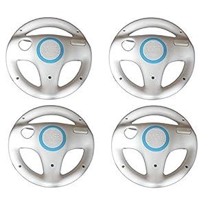LS 4x Lenkrad Weiß Racing Wheel SET für Nintendo Wii MarioKart Wii U NEU weiße Lenkräder 4er Set für Wii