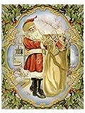 dpr. Fensterbild Nostalgie Weihnachtsmann Nikolaus mit großem Sack einseitig mit Goldglimmer verziert statisch haftend Weihnachten Advent Fenstersticker Fensterdekoration Fensterfolie