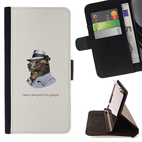 XP-Tech / Flip Klapp Leder Handy Schutz Hülle Case mit Kartenhalter für SAMSUNG Galaxy S6 EDGE (NOT FOR S6)/ SM-G925 - Funncy Grizzly Bear in Hat (Gangsta Hats)