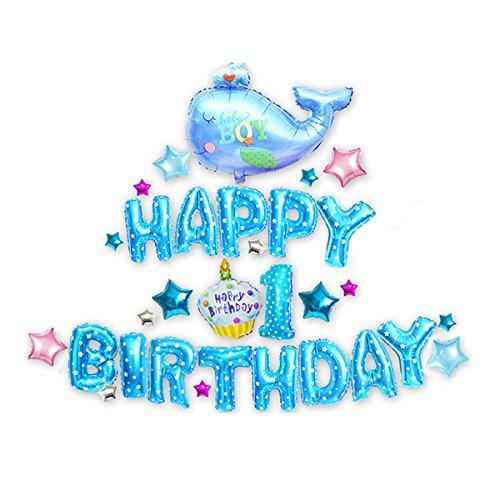 TOYMYTOY Folienballon 1. Geburtstag Baby Junge Happy Birthday Luftballons Set 31 Stücke - Birthday Happy 31