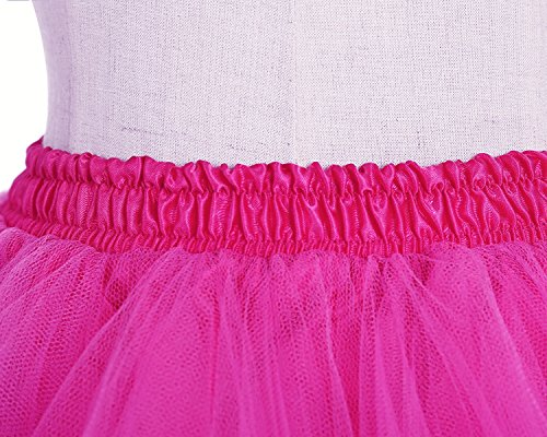 Honeystore Women's Short Vintage Ballet Bubble Puffy Tutu Petticoat Skirt Fuschia