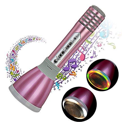 Micrófono Karaoke Bluetooth portátil, Reproductor De Música Máquina Mic Altavoces Incorporados para Compatible con PC/ iPad/ iPhone/ Smartphone, Color Rosado