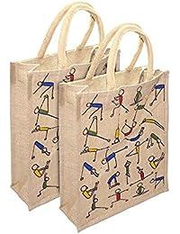 Ridhi & Sidhi Combo Yoga Printed Lunch Bag/Tiffin Bag/Carry Bag/Jute Bag/Handbag.(Size: Small)