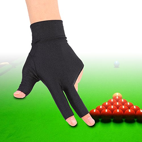 Tbest Billard Handschuh Links Snooker Billard Pool Handschuhe Linke Hand, 3 Finger Billard Handschuh Snooker Queue Handschuhe Spandex Handschuh Billard Zubehör für Mann Frau -
