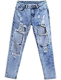 Femmes Capri Cropped Jeans Boyfriend Torn Holes Mid Waist True Denim Ripped Jeans