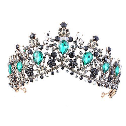 Lurrose Vintage Bridal Tiara Barock schwarz und grün Crystal Prom Queen Crown für Hochzeitsfeier