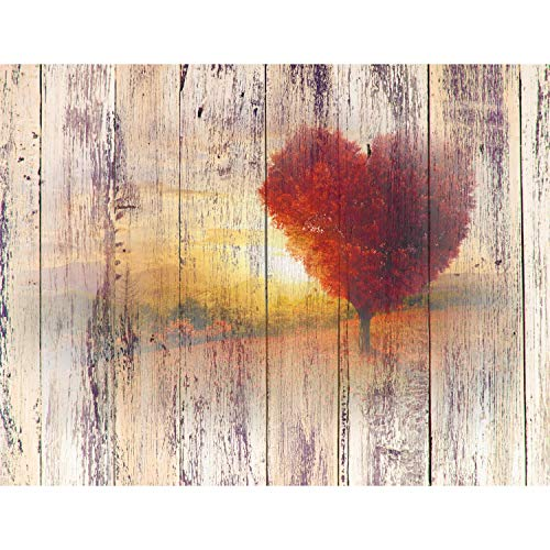 Fototapete Herbst Holzoptik 396 x 280 cm Vlies Wand Tapete Wohnzimmer Schlafzimmer Büro Flur...