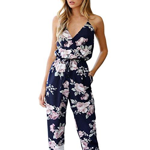 Ärmellos Bandage Overalls, Sunday Damen V-Ausschnitt Floral Bedruckte Playsuit Party Hosen Overall Frauen Sommer Jumpsuits Elegant Lang Breites Bein Romper Taille Rückenfrei Loose (XL, Blau) (Silhouetten-yoga-hosen)
