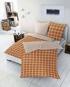 """2-tlg. PRIMERA Renforce Wendebettwäsche Garnitur """"Karo"""", Größen 135 x 200cm und 155 x 220cm, Farbe: orange Größe 155 x 220 cm"""