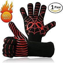 """Premium BBQ GrillHandschuhe Set von 2 bis zu 500 ° C Ofenhandschuhe Kochhandschuhe Hitzerbeständige Handschuhe für BBQ,Kochen,Backen und Schweißen (1 Paar 14 """")"""