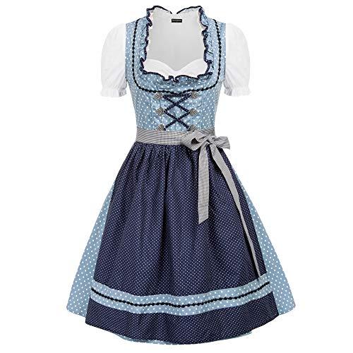 SCARLET DARKNESS Damen Elegant Midi Trachten für Oktoberfest Dirndl 2 TLG.Trachtenkleid Kleid, Schürze, Gr. S-2XL -