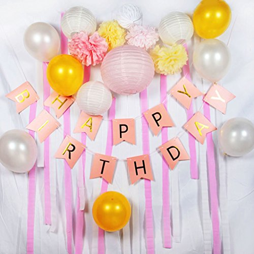 Dekoration Set HAPPY BIRTHDAY Laterne Pompoms Luftballonen Deko (Rosa) (Rosa Tupfen-luftballons)