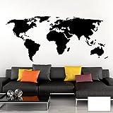 Grandora Wandtattoo Weltkarte Erde Globus Karte I weiß 200 x 87 cm I Welt Atlas Schlafzimmer Wohnzimmer Wandsticker Wandaufkleber W698