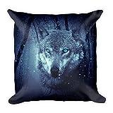 Wolf mit blauen Augen, großes, flauschiges Kissen 45x45 cm, handmade in EU