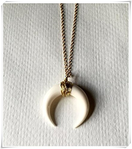 crescent-moon-ketten-ochse-horn-doppelter-horn-halskette