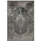 Kunstseide Teppich Vintage Ornament - Anthrazit oder Silber | klassisches Muster modern interpretiert | ultra leichter und softer Flor mit edlem Seidenglanz , Farbe:Anthrazit, Größe:120 x 170 cm