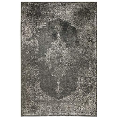 Kunstseide Teppich Vintage Ornament - Anthrazit oder Silber   klassisches Muster modern interpretiert   ultra leichter und softer Flor mit edlem Seidenglanz , Farbe:Anthrazit, Größe:120 x 170 cm