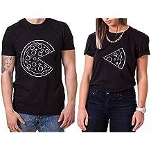 WhyKiki Pizza King Queen Partnerlook Camiseta de Los Pares Dulce para Parejas como Regalos