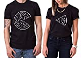 Pizza King Queen Partner Look Pärchen Valentinstag T-Shirt Set, Größe:L;Partner Shirts:Damen T-Shirt Weiß
