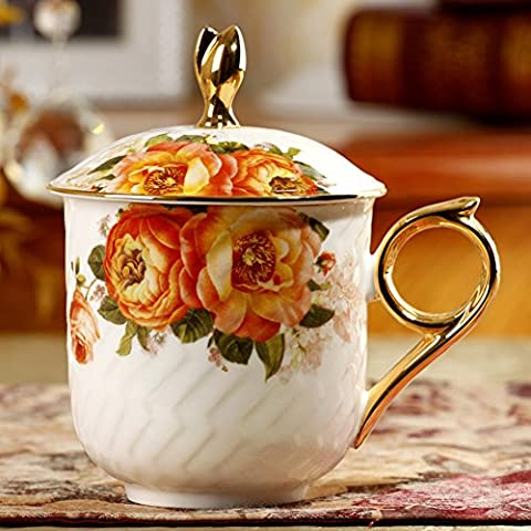 taza de cerámica con tapa/Taza de té por la tarde estilo europeo/ Tazas de porcelana China/ regalo de Copa/ taza de café-E