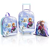 Disney Frozen 2 Luggage Set, Kids Travel Cabin Suitcase, Holiday Girls Suitcase 3 Piece Set featuring Elsa and Anna, School and Travel Bag, Kids Backpack, Trolley Bag and Drawstring Bag Bundle