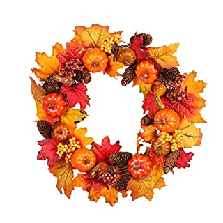AOOPOO Thanksgiving Day Wreath With Pine Fruit Pumpkin Berries Autumn Wreath Led Lighting Garland For Home Shopping Mall Window Decoration(Diameter 45cm)