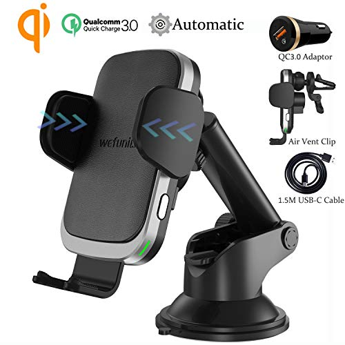 Wefunix Caricatore Wireless Auto Caricabatterie Wireless Ricarica Veloce Quick Charge QC3.0 USB C+Sensore Automatico, 7.5W per iPhone XS Max XR X 8+, 10W per Samsung Galaxy S10 S9 S8 S7 Note 9/8 -CC60
