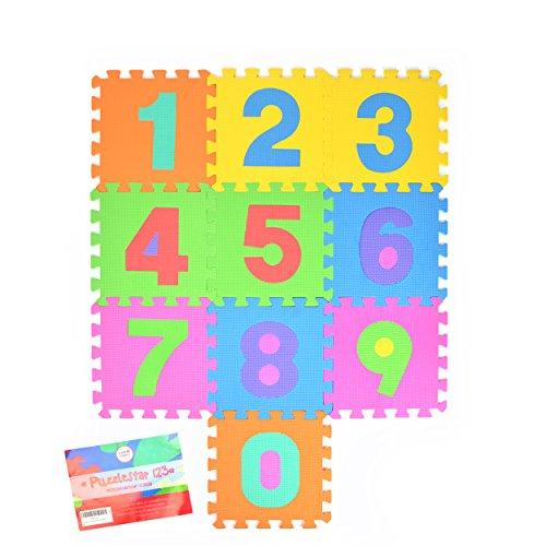 Puzzlestar 123, 10 tlg. Puzzlematte für Kinder aus rutschfestem EVA - große Spielmatte zusammensteckbar, jedes Teil 30 x 30 x 1 cm - Kinderteppich zum Puzzeln mit Zahlen (Teppich-läufer 2 X 10)