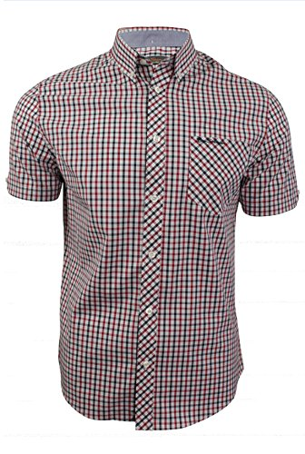 ben-sherman-camisa-casual-cuadrados-con-botones-manga-corta-para-hombre-azul-azul-profundidades-x-la
