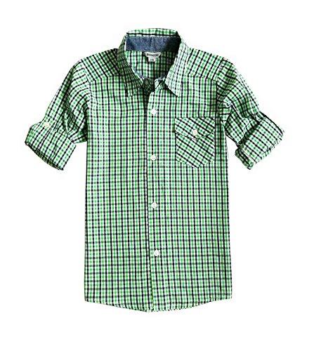 Bienzoe Jungen Baumwolle Plaid Aufgerollt Hülse Knopf Unten Hemd Grün Größe 9/10 (Unten Grün)