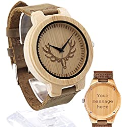 Custom Personalized Bamboo Wooden Antlers Pattern Watches Leather Strap Wood Watch Gift for Groomsmen