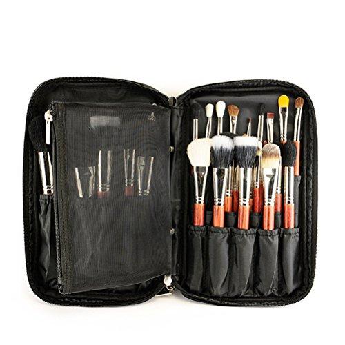 frcolor Organisateur de pinceau maquillage cosmétiques cas Makeup Artist avec ceinture strap Titulaire cosmétiques maquillage sac multifonctionnel pour voyages et maison (Noir)
