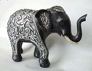 Elefant Ornament braun Kunstharz mit Silber Blumen-Und Blatt Design
