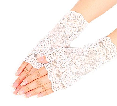 Nanxson Damen Sommer Spitzen kurz Sonneschutz Handschuhe ST0084 (Weiß, eine Size) (Weiße Spitzen Handschuhe)