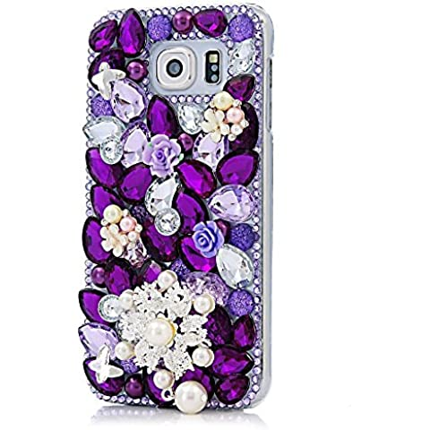 Evtech (tm) Purple 3D Crystal Butterfly Flores Perlas Bling Rhinestone caso claro diamante for [Samsung Galaxy Note 5] (100% Artesanal)