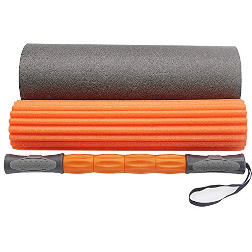 Zhdlj set 2 in 1 con rullo in schiuma e massaggi,terapia del punto trigger, rilascio miofasciale, rullo muscolare per allenamento, palestra e yoga
