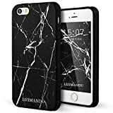 iPhone 5 hülle,iPhone 5s hülle,iPhone se hülle,Lizimandu TPU 3D Handyhülle Muster Case Cover Für iphone5/5s/5se(Schwarzer Marmor/Black Marble)