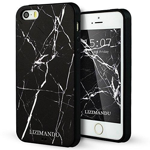 iPhone 5 hülle,iPhone 5s hülle,iPhone se hülle,Lizimandu TPU 3D Handyhülle Muster Case Cover Für iphone5/5s/5se(Elefant/Elephant) Schwarzer Marmor/Black Marble