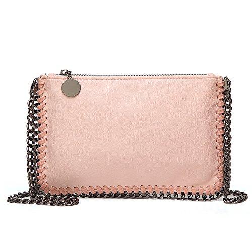 Angleliu Damen PU lässigen Kette Handtasche Modisch Schultertaschen Glitzer Beuteltasche (Kleines Paket rosa)