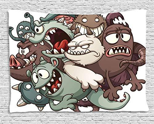 Soefipok Lustige Tapisserie, niedliche Monster Reunioun fiktiven beängstigend Spaß Zeichen Humor Grafik, Wandbehang für Schlafzimmer Wohnzimmer Schlafsaal